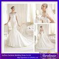 Los nuevos modelos de alta calidad sirena de encaje de la boda vestidos con las mangas de hombro( zx492)
