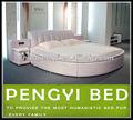 Moderna cama redonda, ronda de cuero cama py-9056