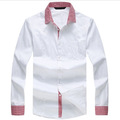 Blanco personalizado casual camisa con cuello contraste, puños y tapeta hecho en china