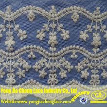 Yjc21733-1 nuevo diseño de nylon bordado de encaje de flores trim