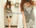 2013 de primavera y verano de moda chaleco de retazos de encaje de ganchillo hilo vestido sexy vestido lindo