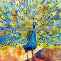 Pintura de alta calidad pintada a mano del pavo real de aceite