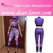 Moda al por mayor de dos- pieza de la bruja de impresión de color púrpura de traje de las señoras sexy pantalones