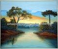 100% feito à mão ,cenário do por do sol lago Tela em pintura a Oleo