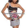 2014 mulheres verão um- ombro, tatuagem de impressão vestido( ntf03003)