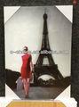 Bd-59 3d tela decorativa pintura desnuda con la niña y la torre eiffel
