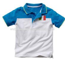 niños de dos tonos camisa polo con bordado de la bandera