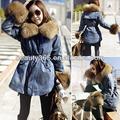 la mujer nueva dama espesar de mezclilla de lana trinchera abrigo de imitación de lana zorro ropa de abrigo chaqueta de jean