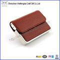 Metal de la alta calidad y el titular de la tarjeta de negocios de cuero