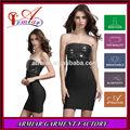 2014 venta caliente señora desgaste tubo negro top de lentejuelas en el pecho vestido vendaje apretado