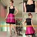 сексуальная с плеча блёстка на платье красный и черный короткое платье для коктейля новая мода 6405
