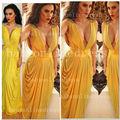 2014 quente sexy vestidos de festa ruched e vestidos de noite frisado gola v profunda amarelo sexy deusa grega fantasias bo3377