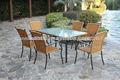 acero muebles de mimbre al aire libre jardín conjuntos de comedor mesa y sillas