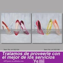 Zapatos de tacón alto mujeres lienzo pintado a mano