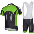 2014 cheji couleur verte vêtements de cyclisme maillot manches courtes cuissard mis en gros breatherable fibre de lait sports me