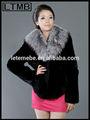 2014 de diseño de moda las mujeres corto abrigo de piel con piel de zorro plateado clooar
