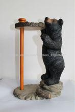 distributeurs de papier d'ours noirs belle polyrésine peinte à la main