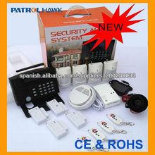 económica amplia pantalla LCD y teclado kit del sistema de alarma de seguridad inalámbrica GSM con el detector de humo