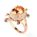 El diseño único de circón topacio forma de tortuga de la joyería unisex anillos de diamantes de imitación de color amarillo