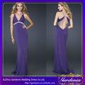 Cor púrpura v- pescoço manga longa de veludo de seda com contas islâmica formal vestido de noite