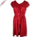waman vestido rojo de algodón con volantes