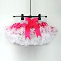 розовая пышная летняя юбка в горошек для девочек