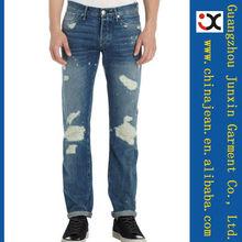 designer de 2013 ripped jeans por atacado para homens projetar seu próprio jeans (JXL21968)