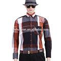 personalizado casual slim fit comprueba los hombres camisas de costura