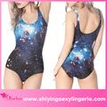 Caliente de la venta al por mayor de las señoras azul galaxy uno- pieza extrema sexy crochet mujeres bikini traje de baño