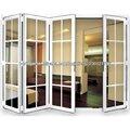 Porta sanfonada de vidro 4 painéis de alumínio com design de grelha