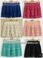 dulces de moda los colores de estilo americano lindo ganchillo niveles de encaje de los pantalones cortos al por mayor baratos
