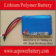 12V recargable li-polímero baterías 9000mAh 45C