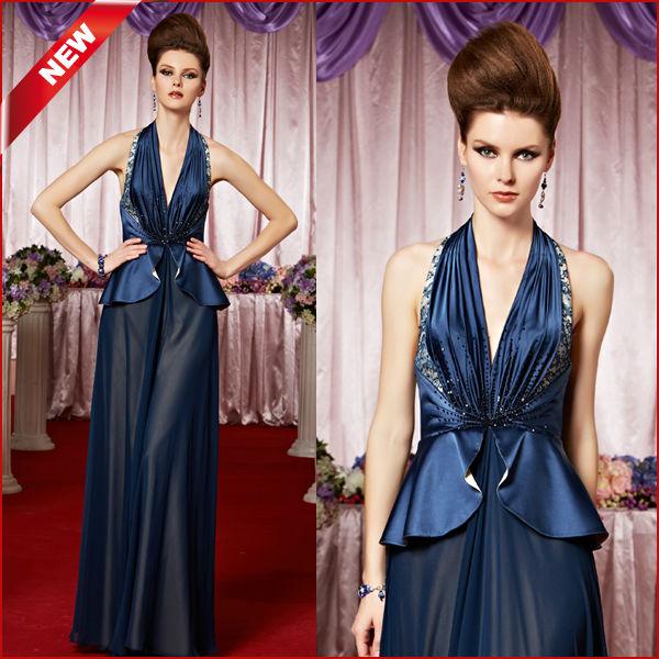 Coniefox largo azul Oscuro vestido halter 30069