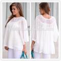 2014 Encaje blanco color de la blusa para mujeres de mediana edad lc127