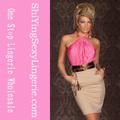 moda de color rosa vertiginosa halterneck acanalada de cóctel de moda vestido de quinceañera vestidos vestidos de fiesta