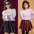 las mujeres de nueva corea sexy delgado elegante de cuero sintético de alta falda plisada cintura mini faldas 18243
