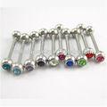 el cuerpo de cristal joyas de acero quirúrgico anillo piercing barra de la lengua