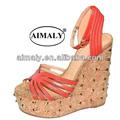 sandalia zapato de la manera / sandalias de las señoras del talón de cuña