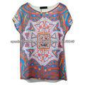 2013 Wholeasle impressão camisa com alta qualidade, blusa modelo camisa das mulheres