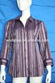 rayas hilados teñidos tejido blusa de medio para las mujeres de edad avanzada