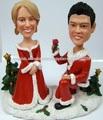 Recuerdo de la Navidad del polyresin pareja bobble head