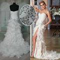 real fotos hy141 fenda sereia trem tribunal vestido de noite longo pena vestido de baile 2013 com rhinestons