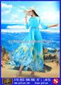 azul cuello plisado vestidos de manga larga para las mujeres musulmanas