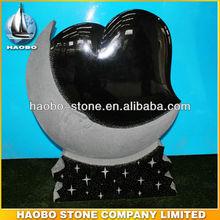nuevo diseño de granito negro lápida corazón lápida