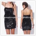 las mujeres 2014 negro con lentejuelas trim de plumas cóctel fiesta ajuste mini vestido bodycon precio barato de
