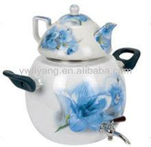 europa design de esmalte branco lírio azul decalque esmalte amarelo chaleira chaleiras de cerâmica do esmalte de alta