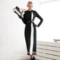 Sexy negro abrigo de la moda, nombre de marca de abrigo
