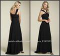 Honorable plisado sin mangas piso de longitud vestido negro de gasa 2012 baile de P-ED-589