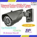 2.0MP Resistente al agua camara ip con 8 pcs powerful ir leds, 9-22m lente, alcance hasta 60m