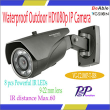 2.0MP Resistente al agua camara ip con 8 pcs powerful ir leds, 9-22m lente, alcance hasta 60m